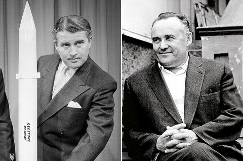Weltraumpioniere und Rivalen:Während Wernher von Braun (li.) weltberühmt wird, halten die Sowjets die Identität von Sergei Pawlowitsch Koroljow bis zu dessen Tode geheim