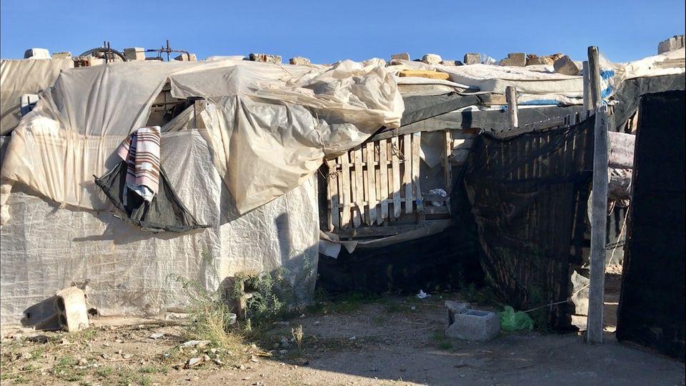 Notunterkünfte von Erntehelfern in Spanien