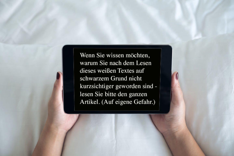 Texte auf Tablet