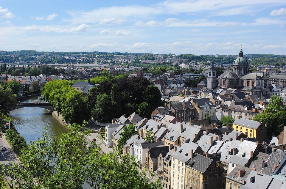 Kathedrale St. Aubain, Blick von der Zitadelle, Namur, Belgien, Europa