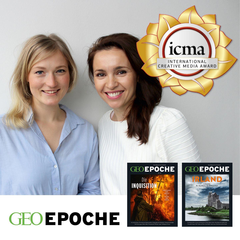 International Creative Media Award: Das Layout-Team von GEO EPOCHE (v.l.: Eva Mitschke, Tatjana Lorenz) freut sich über mehrere Auszeichnungen – und mit ihm die gesamte Redaktion