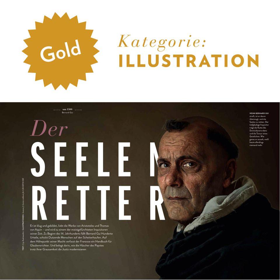International Creative Media Award: Die prämierten, exklusiv für GEO EPOCHE gefertigten Illustrationen von Samson J. Goetze über den Inquisitor Bernard Gui sind historisch akkurat, erzeugen aber auch psychlogische Tiefe