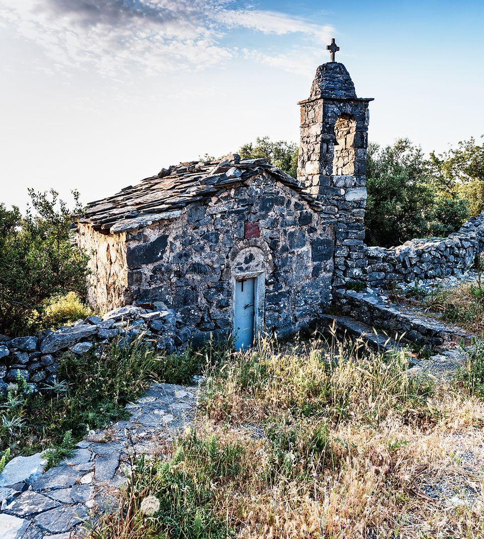 Die Kapelle Agios Nikolaos bei Lagia, in Mani, Griechland