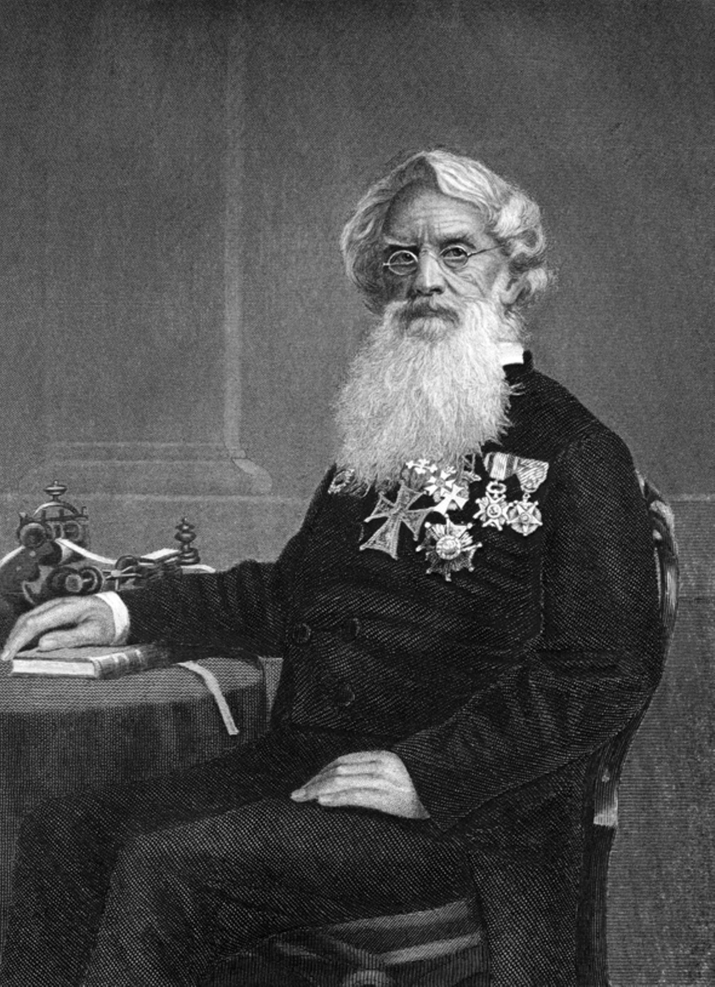 Samuel Morse mit dem Morseapparat