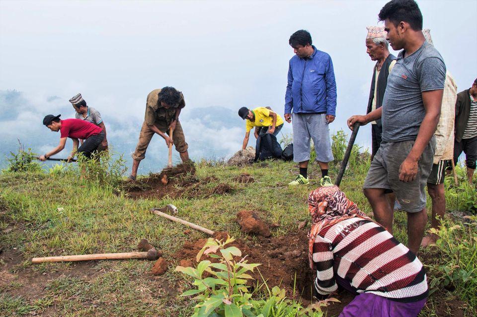 Das Ausheben der Pflanzlöcher unter Aufsicht von Nath Lamsal (blaue Jacke), Experte der Forstbehörde des Distrikts Dhading