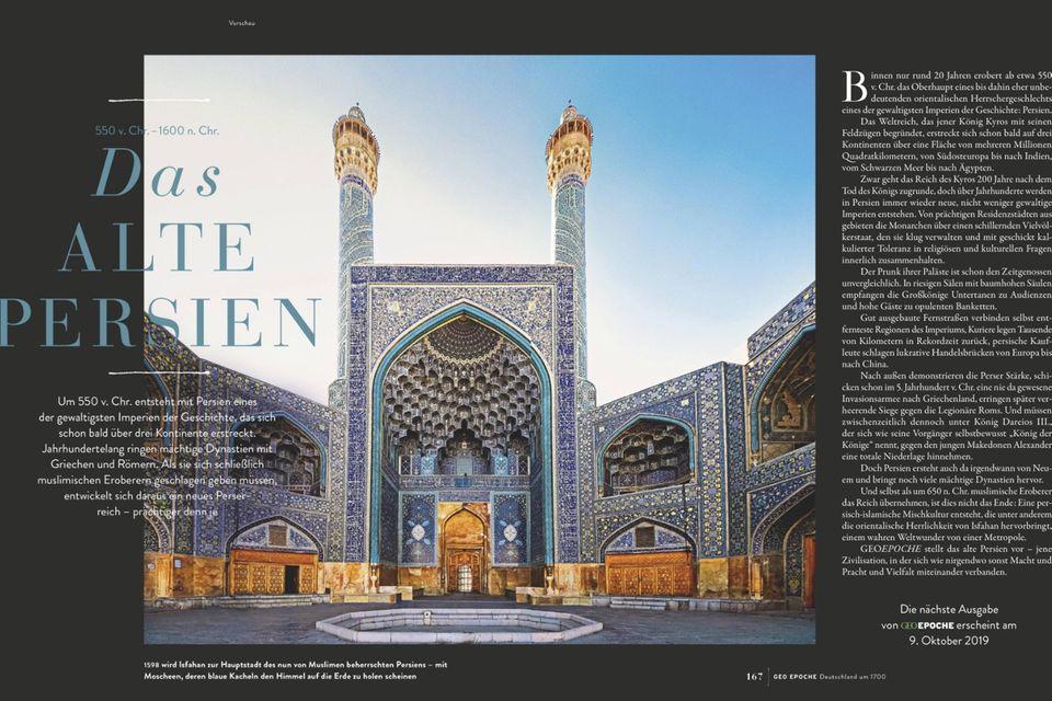 """Vorschau auf Heft Nr. 99: Das erwartet Sie in GEO EPOCHE """"Das alte Persien"""""""