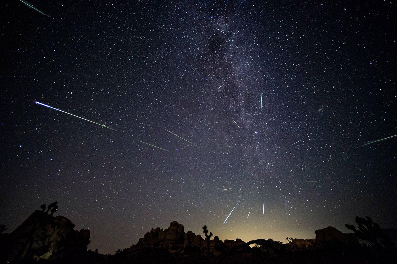 + Sternschnuppen der Perseiden über dem Joshua-Tree-Nationalpark