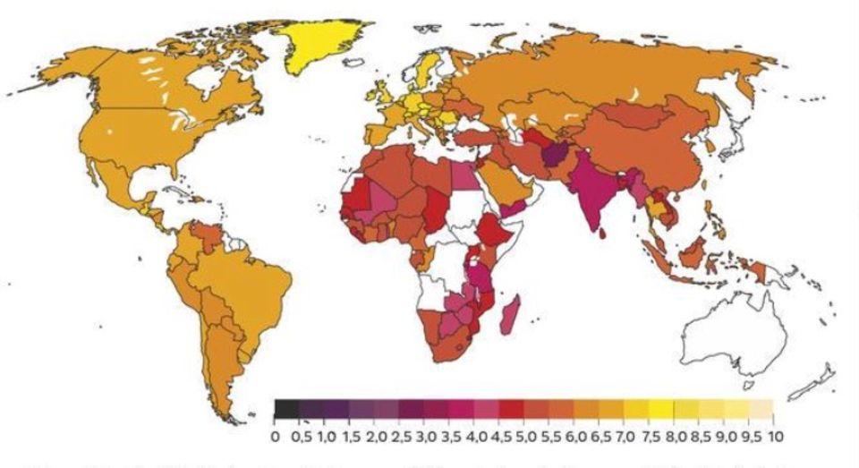 Forschung: Wenn 15- bis 29-Jährige ihre Lebensqualität auf einer Leiter von 0 bis 10 einstufen sollen, führen Europäer; Afghanen haben die niedrigsten Werte. Auf dieser Glücksleiter beruht auch der von der UNO geförderte World Happiness Report.
