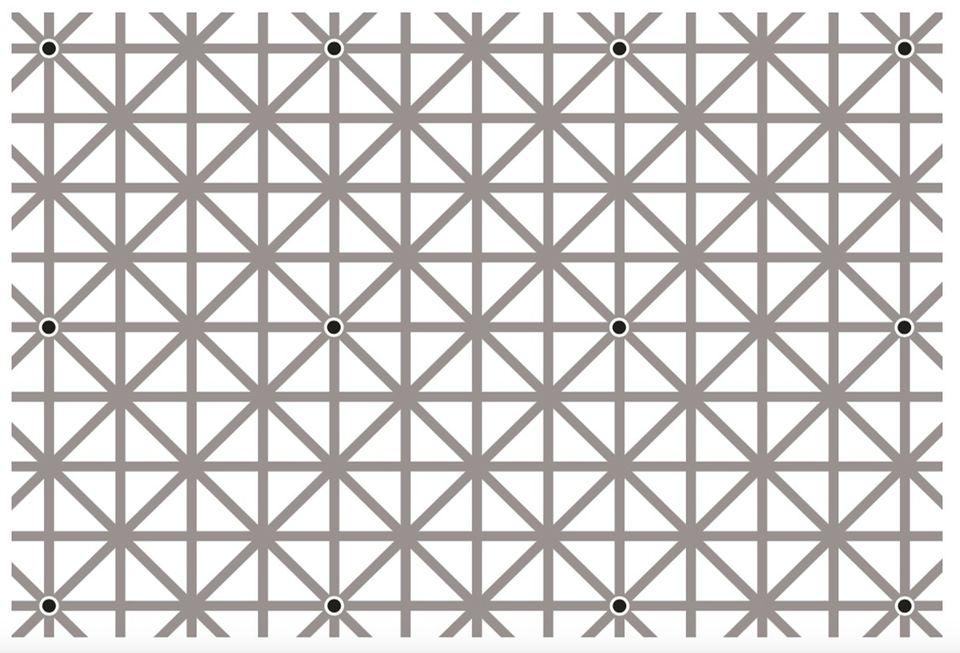 Psychologie: Mustererkennung: Die Zwölf-Punkte-Illusion: Auf den Kreuzungen der grauen Linien sind zwölf schwarze Punkte eingezeichnet – aber unser Hirn sieht nie alle zugleich. Sondern nur einzelne Punkte, die scheinbar zufällig aufblinken, oder mehrere, die aber stets in einer geometrischen Struktur (Linie, Kreuz) aufscheinen. Ein Indiz, dass das Hirn ein winziges Aufmerksamkeitsfenster besitzt: Nur was wir unmittelbar betrachten oder als Struktur erkennen, nehmen wir wahr, der Rest wird ausgeblendet.
