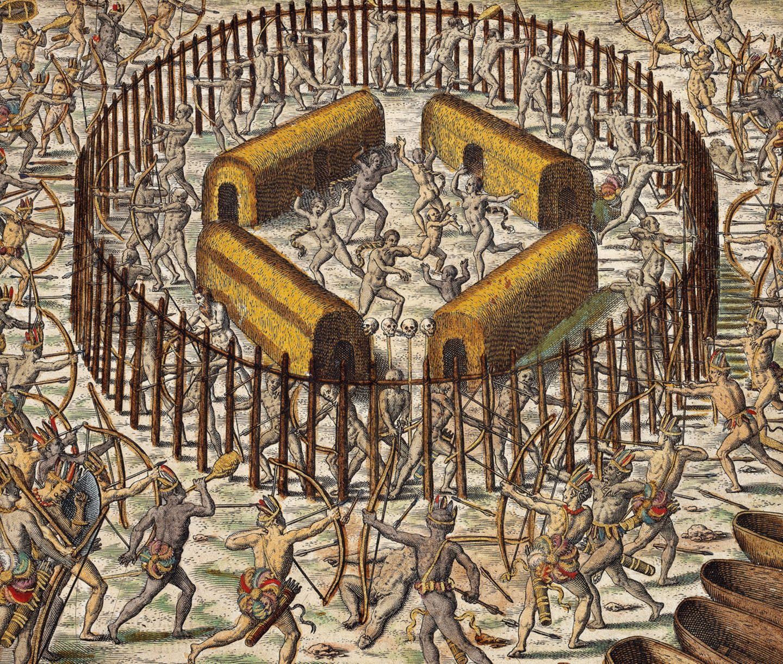 1649 attackieren Irokesen eine Siedlung der Huronen.