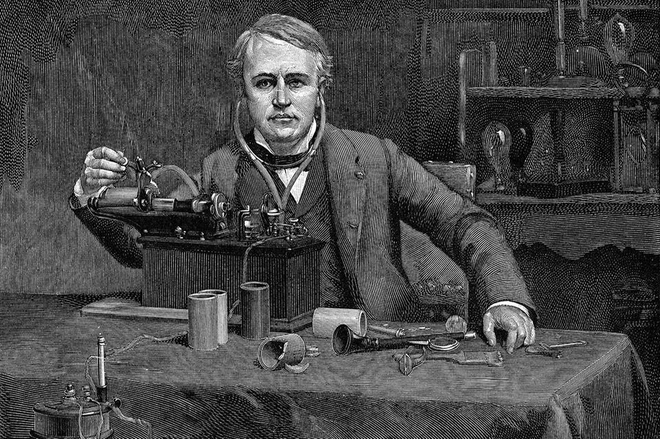 Eidson vor seinem Phonograph