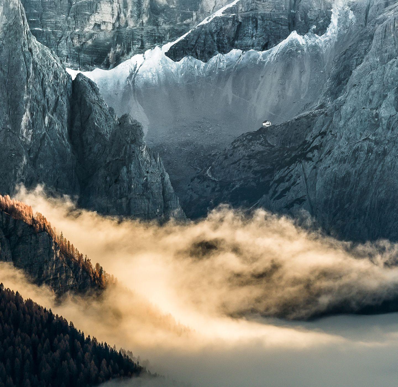 Hütte in den Dolomiten