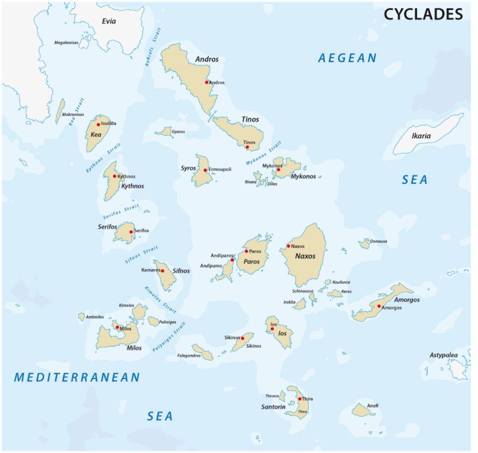 Kykladen: Die Inselgruppe der Kykladen liegt verstreut im Ägäischen Meer