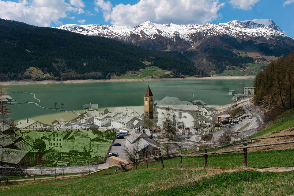 Doppelbelichtung vom Alt-Grauner Dorf und dem jetzigen Areal am Turm.