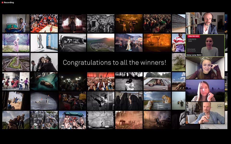 World Press Photo verliehen: Preisverleihung per Videokonferenz. Oben rechts im Bild: Lars Lindemann