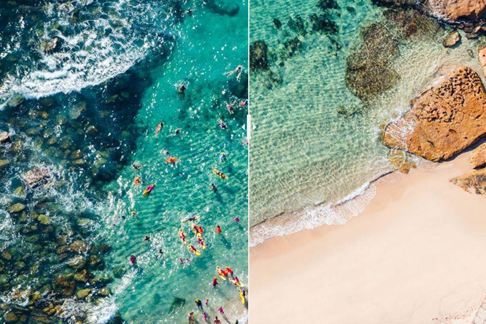 Eindrucksvolle Luftaufnahmen: Sydneys beliebte Strände vor und während des Lockdowns