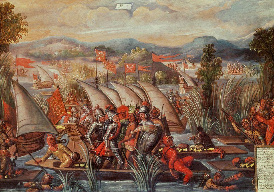 Eroberung des Aztekenreichs: Cuauhtémoc versucht, in einem Boot zu entkommen, doch er wird gefangen genommen. Der letzte große Herrscher der Azteken bekämpft die Konquistadoren kompromisslos und verteidigt Tenochtitlan bis zuletzt. 1525 lässt Cortés ihn hinrichten