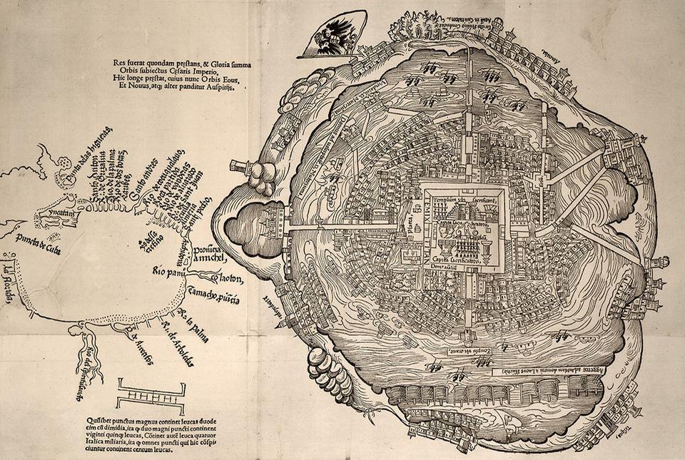 Eroberung des Aztekenreichs: Dieser Plan von Tenochtitlan, hergestellt 1524 in Nürnberg (damals ein internationales Zentrum des Buchdrucks), gilt als Dokument von unschätzbarem Wert: Es zeigt die Stadt relativ detailgetreu vor ihrer Zerstörung. Sogar Montezumas Zoo ist eingezeichnet, als domus animalium, links unter dem zentralen Tempelbezirk