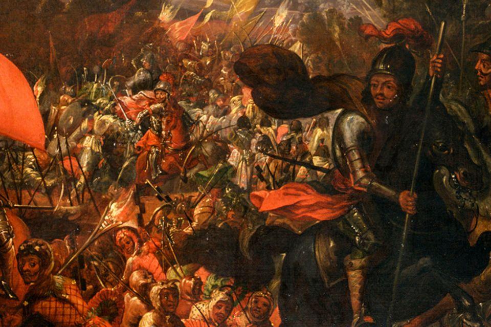 Eroberung des Aztekenreichs: Beim Versuch, sich den Weg aus Tenochtitlan freizukämpfen, erleiden die Konquistadoren ein militärisches Fiasko. Mitten im Chaos des Rückzugs: Cortés, gleich rechts unterhalb dieser Zeilen – heroisch wie immer