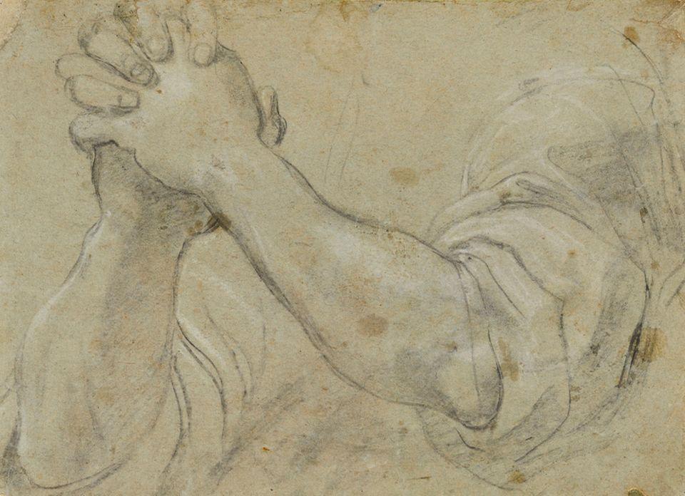 """Reisetipps: Annibale Carracci, Arme mit gefalteten Händen, um 1585–1590, Naturstudie zu dem verschollenen Gemälde Die Rückkehr des verlorenen Sohnes - zu sehen in der Ausstellung """"Am Anfang war die Zeichnung. Formen und Funktionen seit der Renaissance"""" in der Kunsthalle Bremen"""