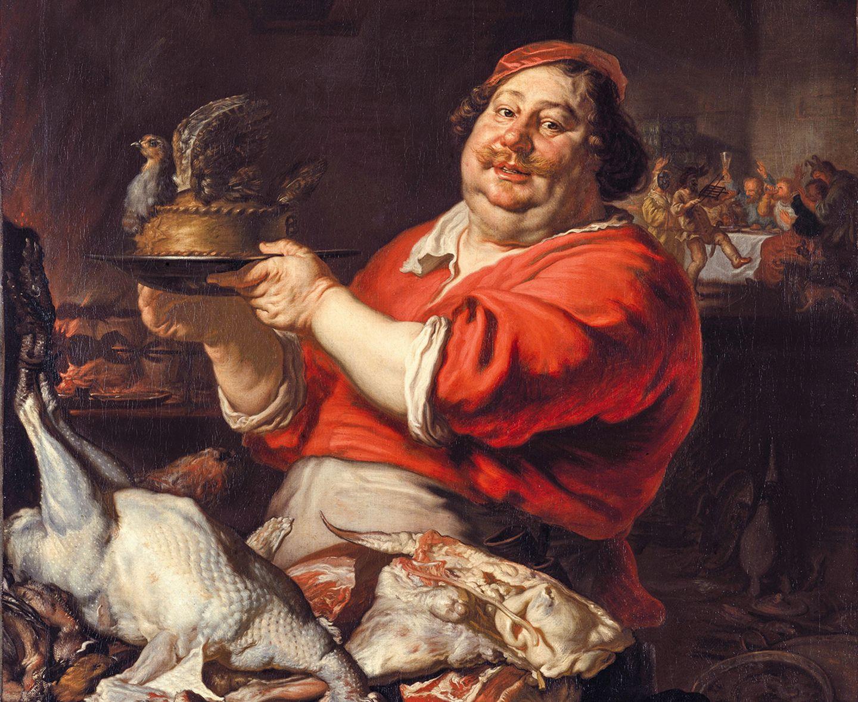 Beginn des Barock: Inspiriert durch ihren Aufenthalt im Ausland, besonders in Italien, verändern deutsche Künstler ihren Stil, malen beispielsweise sinnlicher und launiger, so Joachim von Sandrart diesen Koch (Februar, 1642)
