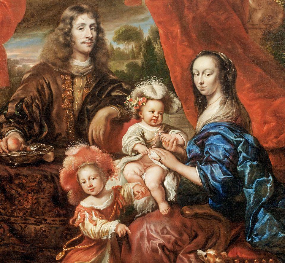 """Beginn des Barock: Im Barock sind Bildnisse nicht unbedingt realitätsnäher, zeigen aber - etwa das """"Familienporträt vor Landschaf"""" von Jürgen Ovens um 1660 - oft mehr Dynamik und Opulenz als zuvor"""