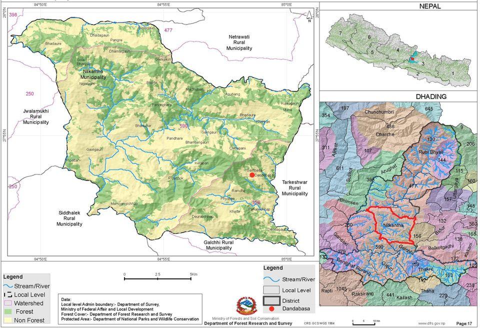 Der Distrikt Dhading (u. re.) liegt mitten in Nepal (o. re.). Danda Basaha (roter Punkt u. li.) gehört zum Bezirk Nilkantha (rot umrandet u. re.) von Dhading
