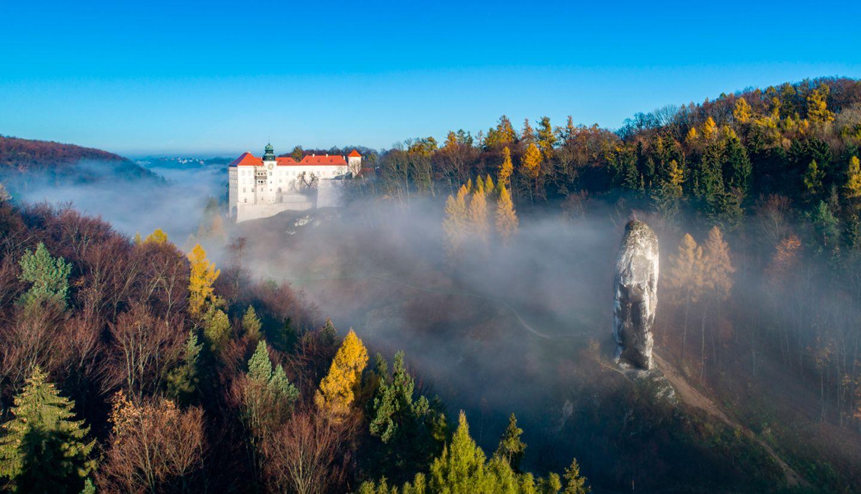 "Kalksteinklippe Pieskowa Skala bei Krakau, Polen, mit isoliertem Felsen ""Maczuga Herkuklesa"""