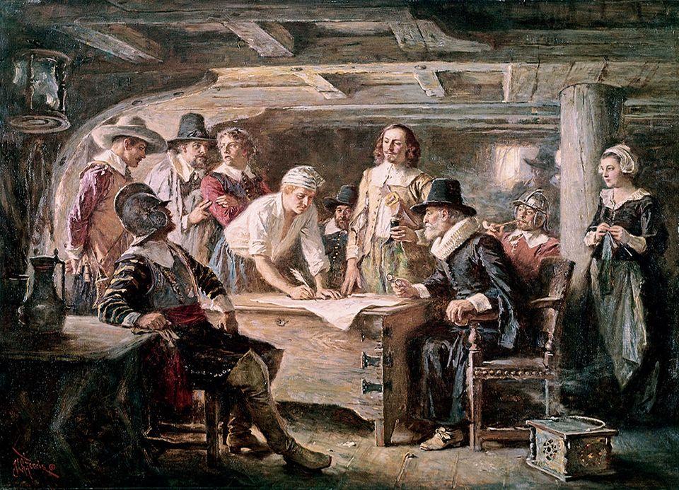 Unterzeichnung des Mayflower-Compacts