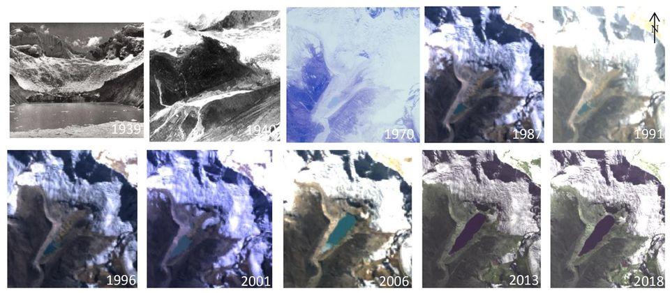 Historische Fotografien (die ersten drei Bilder) und Satellitenaufnahmen zeigen, wie der Gletscher schmilzt und der Palcacochasee dadurch stetig wächst. Der See hat jetzt ungefähr das 34-Fache seines Volumens im Jahr 1970
