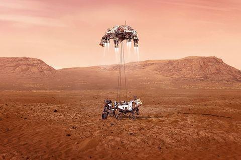 Nasa-Rover «Perseverance» bei der Landung auf dem Mars