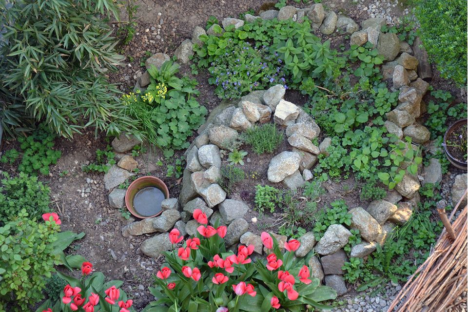 Die Kräuterspirale ist hübsche Gartendeko und praktisches Beet in einem