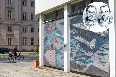 """Das alte Potsdamer Rechenzentrum mit seinem Mosaik """"Der Mensch bezwingt den Kosmos""""muss vielleicht einem neuen Turm der Garnisonkirche weichen"""