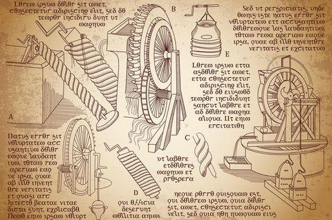 Skizzen des Tüftlers Leonardo Da Vinci
