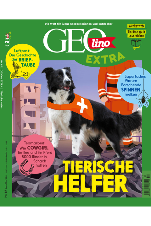 Das Cover von GEOlino Extra Nr. 87 - Tierische Helfer