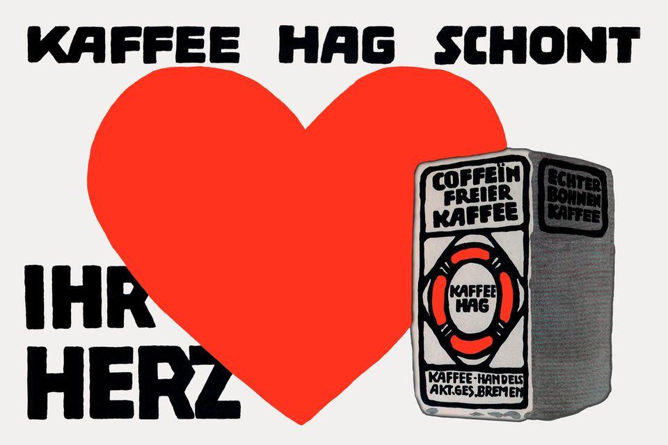 Mit einer Werbekampagne pries der Unternehmer Ludwig Roselius seinen koffeinfreien Kaffee an - die Botschaften auf solchen Plakaten gehörten dabei eher zu den defensiveren