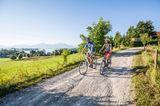 Zwei Radfahrer auf einem der Chiemsee-Radwege