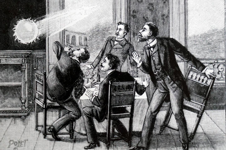 Historische Illustration eines auftretenden Kugelblitzes
