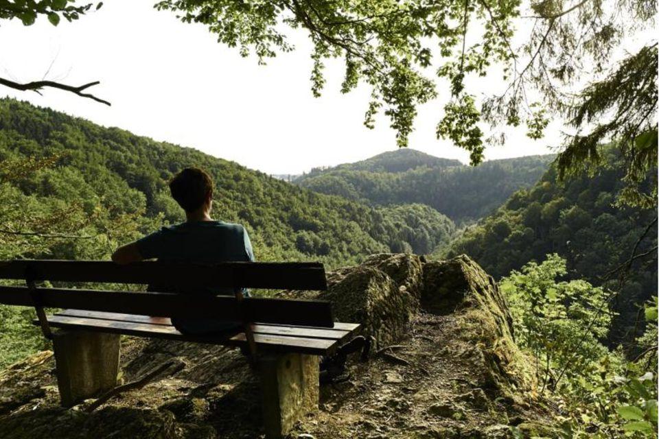 Wanderer auf einer Bank genießt die Aussicht über das Steinachtal