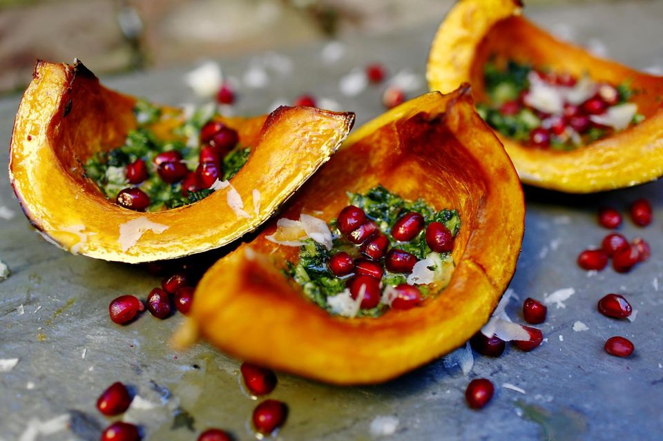 Roasted squash with pomegranate seeds and homemade pesto