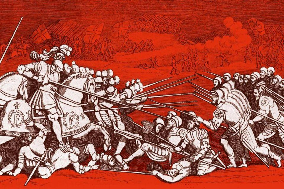 Ohne Helmwerfen sich die todesmutigen Schweizer der französischen Reiterei bei Marignano entgegen. Jeder kennt seinen Platz im Kampf, Disziplin ist oberstes Gebot