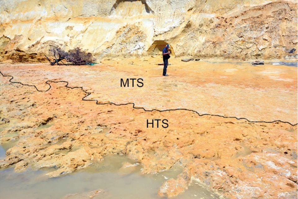 """Die Fundstelle: Der Bereich mit Neandertalerspuren ist mit """"HTS"""" markiert, der mit Spuren von Wirbeltieren mit """"MTS"""""""