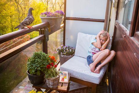Mädchen erschreckt sich vor Taube auf dem Balkon