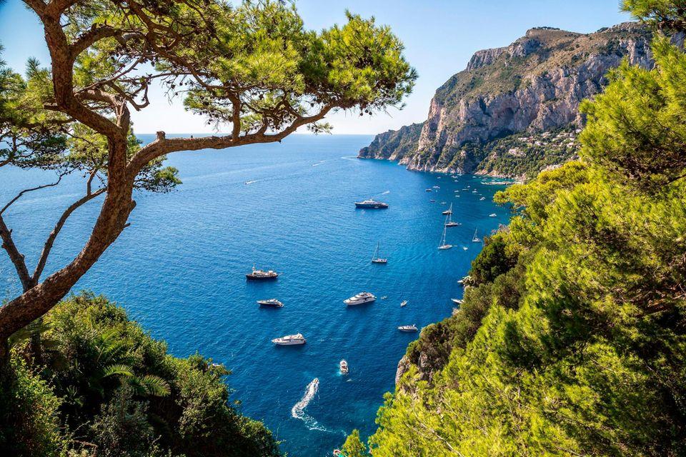 Raue Landschaften und malerische Buchten kennzeichnen die Insel Capri. Sie liegt im Golf von Neapel nur 5 Kilometer vom Festland entfernt
