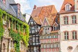 Hausfassaden in der Altstadt von Quedlinburg