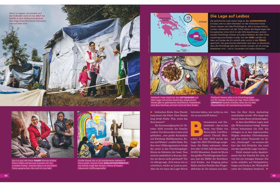 Brand im Flüchtlingscamp Moria, GEOlino Ausgabe Nr. 13-2020