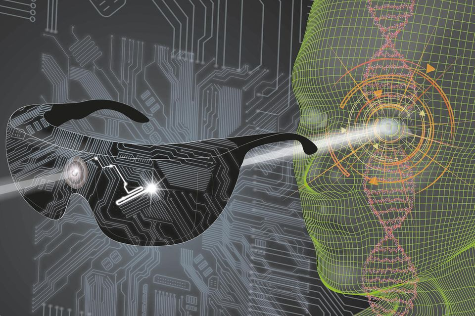 Mithilfe der neuen Therapie wird die Netzhaut eines Erblindeten wird wieder sensibel für Licht mit einer bestimmten Wellenlänge gemacht. Die Brille wandelt Umgebungsbilder um und verstärkt sie entsprechend