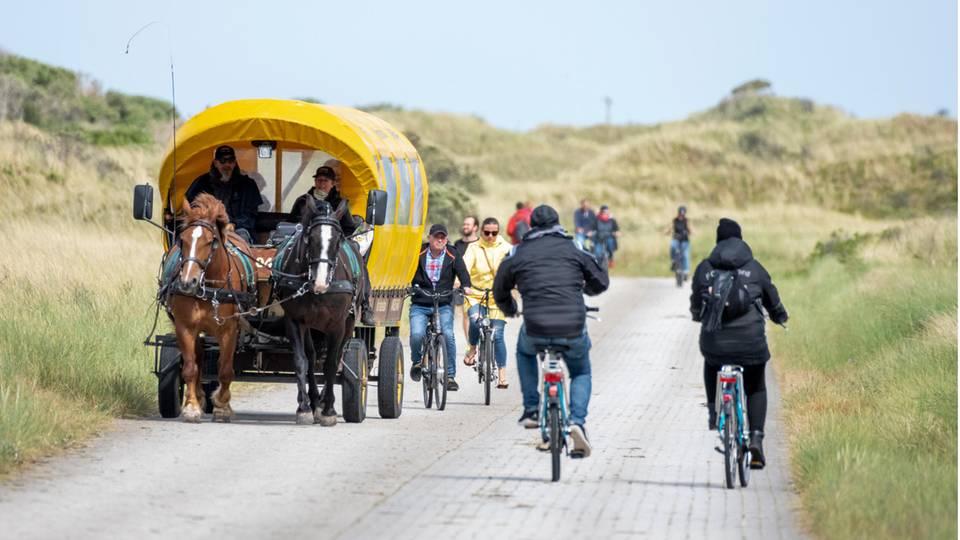 Radfahrer und Pferdekutsche auf Juist