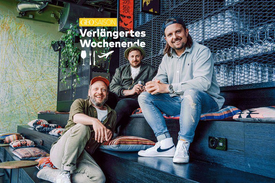 Die drei gastronomischen Tausendsassas und Podcasts-Hosts: Matten Kersten, Olaf Deharde und Fabio Haebel