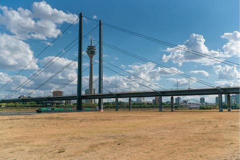 Hitzesommer wie 2018 - hier der Rhein bei Düsseldorf - werden Deutschland bis Mitte des Jahrhunderts häufiger heimsuchen. Das Klima der Rhein-Metropole ist dann dem kroatischen Rijeka vergleichbar